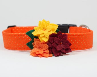 Fall Dog Collar with Flower - Orange & Gold Dots