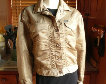Vintage 80s Faconnable Gold Nylon Cropped Hip Hop Bomber Jacket Coat Womens M