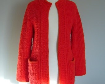 Vintage RED BOUCLE SWEATER/Cardigan/size Small/Medium/Large