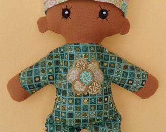 Cloth doll - baby girl- cotton ragdoll - Geometric print -applique front