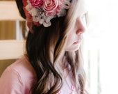 Unique pink and ivory headband - chiffon, satin and lace - any size, made to order