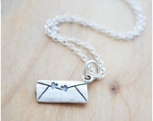 Sterling Silver Love Letter Necklace - Double Hearts Necklace - Charm Jewelry - Couples Necklace
