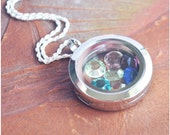 Birthstone Memory Locket Necklace - Mommy Jewelry - Magnetic Glass Locket - Grandma Birthstone Necklace - Sterling Silver Rope Chain