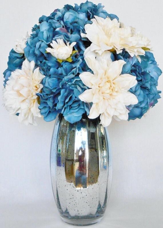 Artificial Flower Arrangement Denim Blue Colored Hydrangea