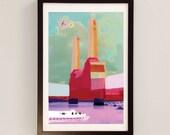 Art Deco Architecture Print / Battersea Power Station Mixed Media Collage Art / Urban Painting / London Art
