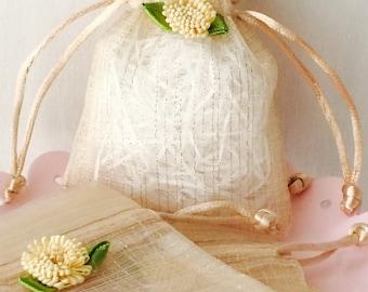 12 -Mini Gold Elegant Shimmer Organza Gift Favor Bags