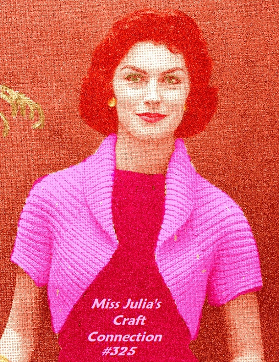 A BEST Vintage 1950s Simple Shrug Bolero Sweater Jacket 325 PDF Digital Knit Pattern