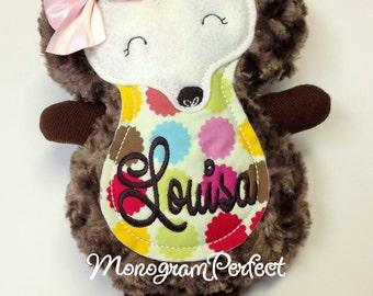 Personalized Brown Polka Dot Hedgehog Soft, Plush Doll