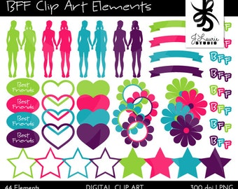 Digital Clipart Elements-BFF-Best Friend Clipart-Best Friend Scrapbook-Digital Frames-Digital Scrapbook Elements-Instant Download Clip Art