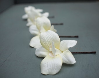 Set of 4 Beautiful Ivory Silk Dendrobium Orchid Bridal Hair Flowers Wedding