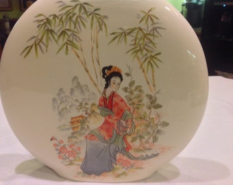 Stunning Asian Disc Vase Featuring a Female Figure