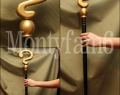 RIDDLER CANE Gold Black  Question Mark Costume Walking Stick Prop Cosplay Comic Con