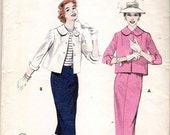 Vintage 1950's Butterick 7220 Wiggle Skirt &  Cropped Jacket Sewing Pattern Size 14