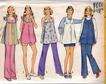 """Vintage 1972 Simplicity 5421 Maternity Smock Top and Pants Sewing Pattern Size 10 Bust 32 1/2"""""""