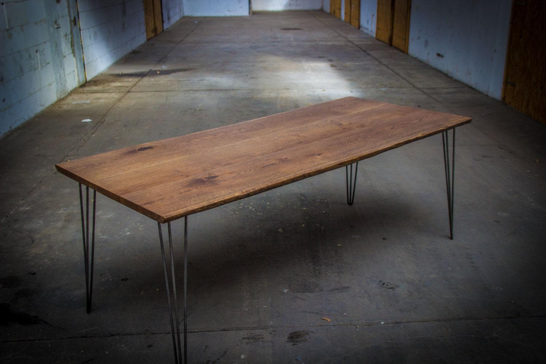 Dark oak table large dark oak dining table set on hairpin for Dark oak dining table