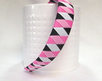 Woven Headband, Toddler Headband, Girls Headbands, Pink,White and Black, Headband, Head Bands