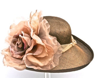 Kentucky Derby Chocolate Brown Hat Large Brim Easter Hat