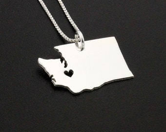 Washington necklace Pesonalized Engraved sterling silver Washington state necklace with heart comes with Box style chain Hometown Necklace