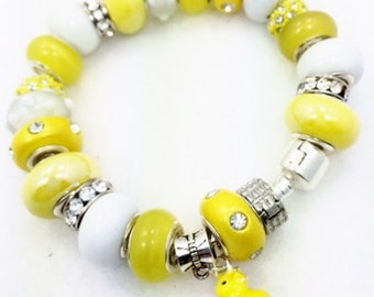 Yellow Duck Charm Bracelet