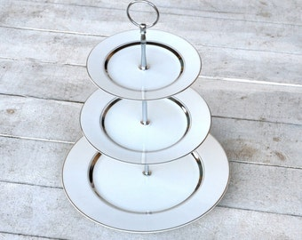Cake Stand, Elegant--Wish: White and Platinum 3 Tier Stand, Anniversary, Black Tie Wedding, Modern, All White Decor, Craft Show Display