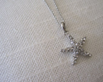Starfish necklace - Small Starfish Necklace - Rhinestone Starfish Necklace - Beach Wedding