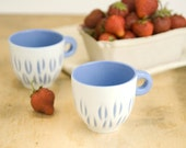 Espresso cup - unique handmade serving decorative textured kitchen pottery morning coffee set of two - blue
