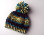 Knit Toddler Hat Boy Striped Hat Blue, Green and Brown, 1-2 years, winter hat, knitted hat