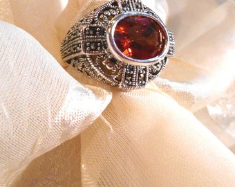 ArtDeco Topaz Statement Ring East-West Sterling Silver Setting With Marcasite