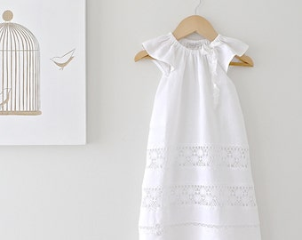 Baby Baptism Dress Long-Soft White Linen and Lace Fully Lined Traditional Christening Gown-Naming Ceromony-Children Clothing by Chasing Mini