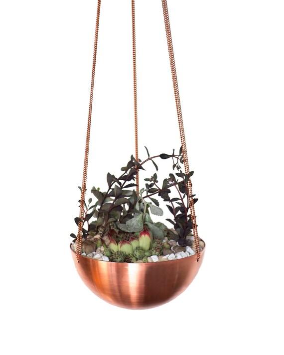 Summer Sale! Large Hanging Planter/Basket with hand spun copper/ brass bowl / Modern Planter / Plant Hanger / Minimalist Home Decor