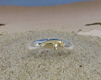 14k Gold and Sterling Silver Stacking Manatee Ring