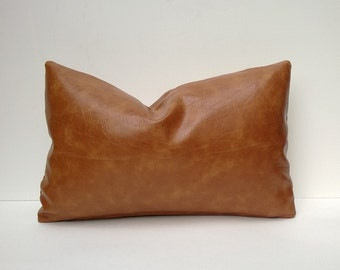 Decorative Faux Leather Pillow Cover Caramel-Color Brown 14 x 24, 12x 18, 16 x 16 Square, Lumbar, Many Sizes