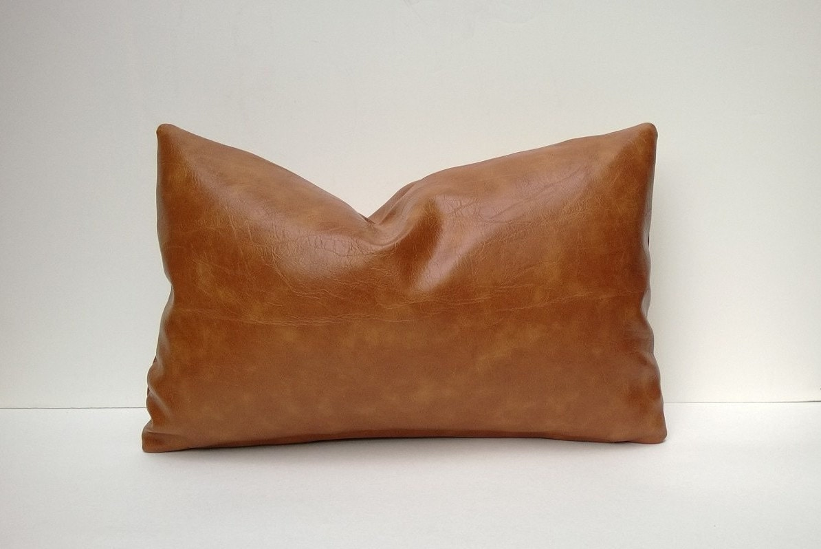 Decorative Pillows Leather : Caramel Brown Faux Leather Decorative Pillow Cover
