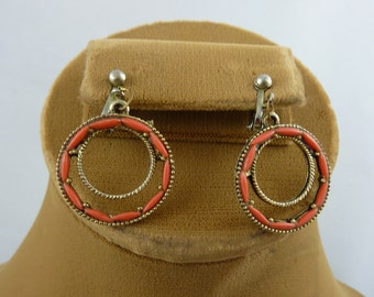 Coral Chip Brass Earrings