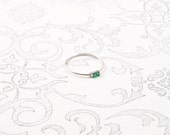 Sterling Silver Emerald Baguette Ring