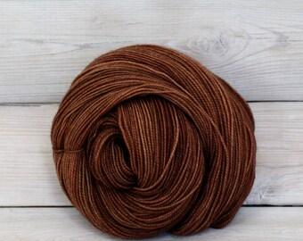 Celeste - Hand Dyed Superwash Merino Fingering Sock Yarn - Colorway: Cinnamon