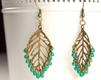 Spring Green Leaf Filigree Earrings - Antique Brass and Green Glass