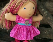 Waldorf Doll Dress - Pink Print with Embroidered Cat