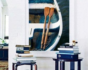Framed Photography Print Large Wall Art Interior Design Rowboat Oars Photo Coastal Nautical Decor Teal Navy Blue Green Beige Framed Artwork