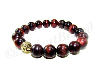 Autumn Men's Red Tiger Eye Beaded Bracelet