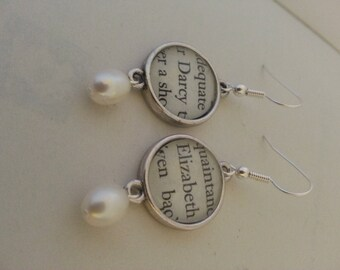 Elizabeth and Darcy Pride and Prejudice Book Page Earrings
