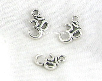 Antique Silver Yoga OM Aum Ohm Mantra Sign Charm Pendant - Beads Jewelry Supplies Crafting Supplies Jewelry Making