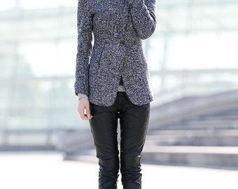 Grey High Collar Jacket Winter Wool Women Coat-CF054