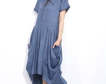 Maxi linen dress  in blue C297