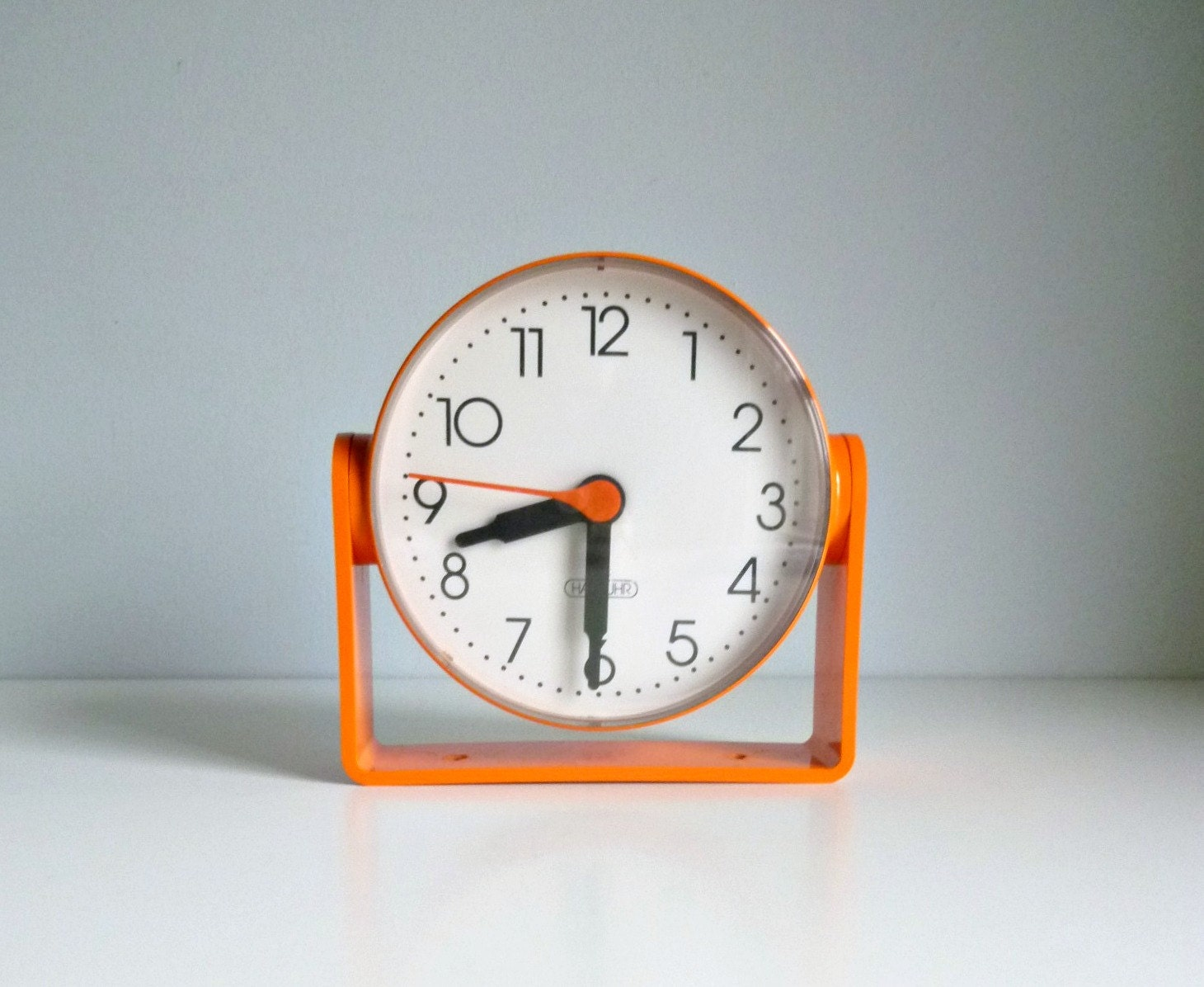 mid century wall desk clock orange die hausuhr germany u2013 mad