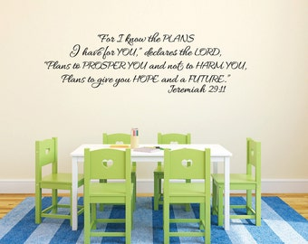 """Jeremiah 29:11 - Christian Vinyl Art- Religious Bible verse Vinyl wall decor- I know the plans I have for you declares the Lord-13.5"""" X 45"""""""