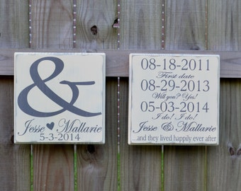 Important Date Personalized Wedding Signs - Wood Sign Wedding Gift - Engagement Gift - Anniversary Gift - Edwardian