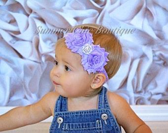 Lavender Baby Headband, Infant Headband, Newborn Headband , Lavender Headband, Shabby Chic Headband Lavender Headband on glitter elastic