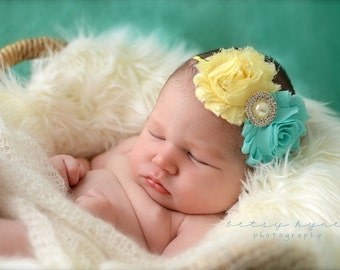 SALE Light Yellow and Seafoam Green Baby Headband, Infant Headband, Newborn Headband, Girls Headband, Shabby Chic Headband