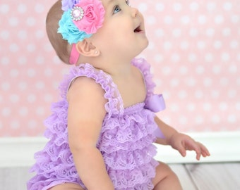 Baby Headband, Infant Headband, Toddler Headband, Girls Headband, Shabby Chic Headband - Pink, Lavender, and Aqua, Easter Headband